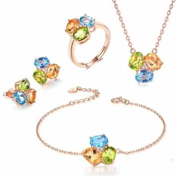 Three Natural Gemstone Yellow Citrine Green Peridot Blue Topaz  Fine Jewelry Set