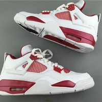 "Air Jordan 4 ¡°Alternate ""89 while red Basketball Shoes 40-47"