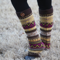 Aztec Legwarmers- Tan Leg warmers, Purple, Khaki Legwarmers, Brown, Knitted Leg warmers, Boot Socks, Boot cover, Winter Socks, Aztec Print