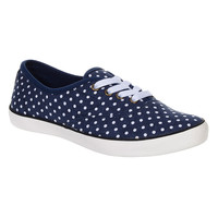 Bleeding Heart Polka Dot Print Canvas Shoes (Blue)