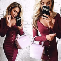 Fashion Solid Color Single Row Buttons V-Neck Long Sleeve Bodycon Mini Dress