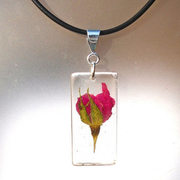 Real Pressed Rose Bud Rectangle Resin Pendant Necklace