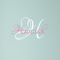 Name Monogram Decal - Custom Lettering Girls Nursery Name Initial Wall Decal