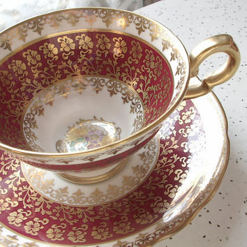 Antique red and gold English tea cup set, vintage Royal Stafford bone china tea cup, hand painted flowers tea set