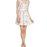 AQUAWatercolor Floral Bonded Lace Dress