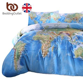BeddingOutlet World Map Bedding Set Vivid Printed Blue Bed Duvet Cover with Pillowcases Soft Microfiber Home Textiles UK SIZE