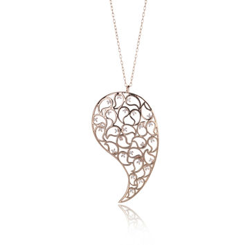 Jaali Rose Gold Paisley Necklace Clear CZ