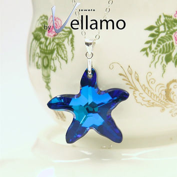 Starfish ocean blue Swarovski crystal pendant with sterling silver necklace necklace, Bermuda blue, sparkly peacock blue