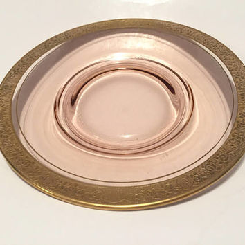 Pink Glass Plate with Gold Trim, Tiffin Rambler Rose Pink Glass Vintage Plates