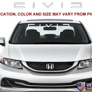 Honda Civic Windshield Window Banner Ver. 2 Vinyl Decal Accessory Sticker