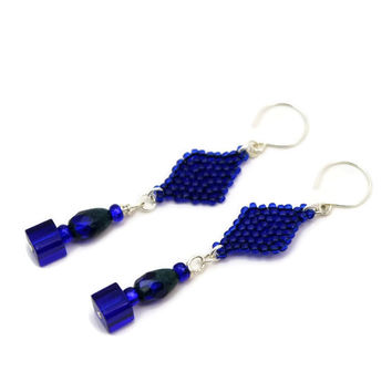 Cobalt Beaded Dangle Earrings