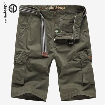 Loose Cotton Men Cargo Shorts Bermuda Office Work Fashion Casual Short Men Camo Multi-pockets Military