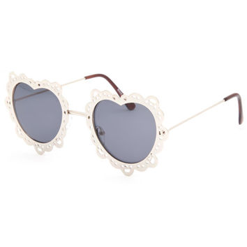 Full Tilt Scalloped Heart Sunglasses Gold One Size For Women 25782862101