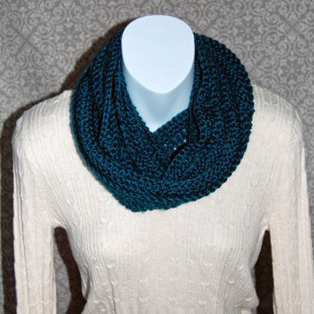 Crochet infinty scarf, peacock, teal, circle scarf, loop scarf, women's, crochet scarf, chunky scarf, cowl scarf, chunky cowl, ribbed
