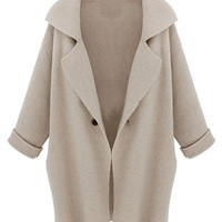Beige Lapel Long Sleeve Cardigan