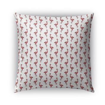 FLAMINGOS ON WHITE PATTERN Indoor Outdoor Pillow By Northern Whimsy