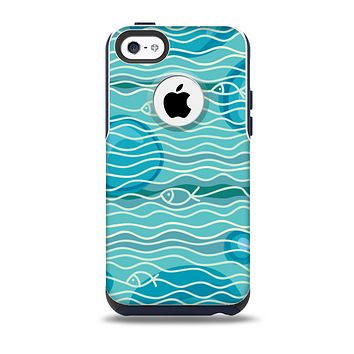 The Blue Abstarct Cells with Fish Water Illustration Skin for the iPhone 5c OtterBox Commuter Case
