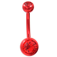 "Red Obsession All Red Double Gem and Bar Belly Button Navel Ring - 14 Gauge(1.6mm) 3/8""(10.5mm)"