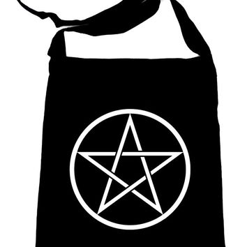 White Woven Pentacle Crossbody Sling Bag Witchy Occult
