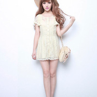 summer paradise cream lace romper