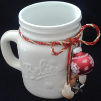 Believe Christmas Mug, Mason Jar Mug, Coastal Christmas Coffee Mug, Nautrical Christmas Mug, Seashell Christmas Mug, Teacher's Gift