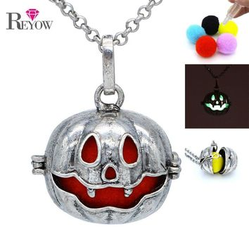 Aromatherapy Jewelry Antique Silver Big Pumpkin Hollow Locket Necklace Essential Oil Diffuser Pompons/Glow Beads/Chime Ball