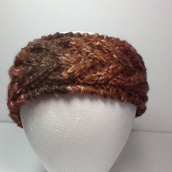 Cable Knit Headband, brown marbled ear warmers, optional fleece lining,  wide knitted  wrap