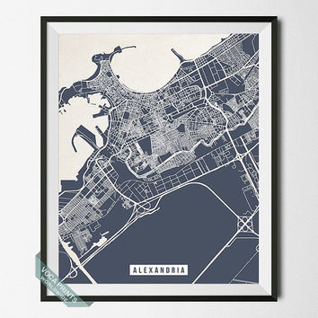 Alexandria Print, Egypt Poster, Alexandria Street Map, Egypt Map Print, Wall Decor, Livingroom Decor, Office Art, Back To School