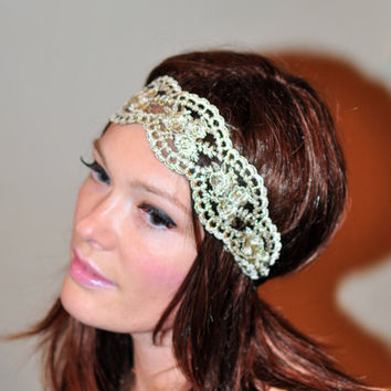 Lace Headband Gold Black Hair band Headwrap Stretch Headcovering Vintage Headband Wedding Valentine Day Gift