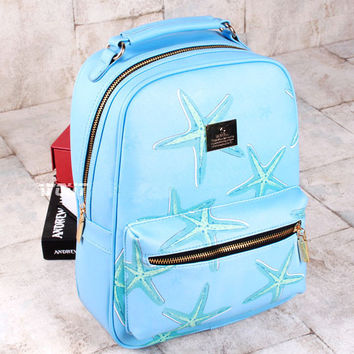 Starfish Printing Leisure Leather Backpacks