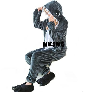 HKSNG New Animal Unisex Adult Grey Shark Kigurumi Pajamas High Quality Flannel Family Party Onesuits Cosplay Costumes Jumpsuits