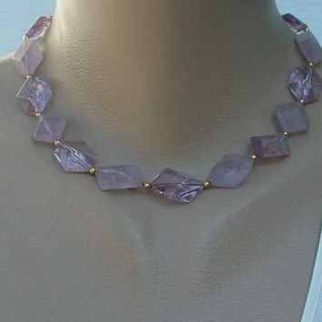 AVON Japan Lavender 3 D Geometric Bead Necklace Vintage Jewelry