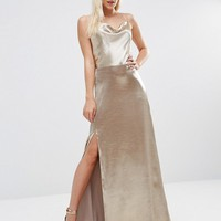 Jarlo Petite Cowl Front Strappy Cami Maxi Dress With Thigh Split at asos.com