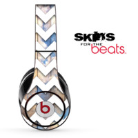 Cloudy Blue Wood and White Chevron Pattern Skin for the Beats by Dre Solo, Studio, Wireless, Pro or Mixr