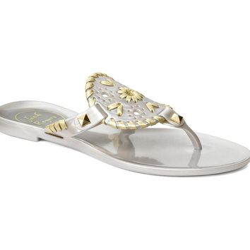 Miss Georgica Jelly Sandal in Silver/Gold by Jack Rogers