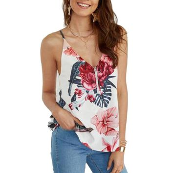 Sexy Tank Camis Summer Women Bohemian Beach Floral Tropical Mixed Print Backless V Neck Tank Tops Ladies Basic Shirt Roupas