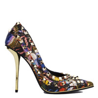 Privileged by J. C. Dossier Metallic Multi Print Pointed Toe Studded Pumps