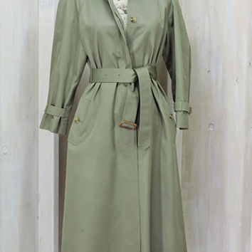 Women's trench coat / full-length trench coat size S 5 / 6 / Vintage 70s long trench coat / Sanyo JusterWoman / olive green khaki raincoat