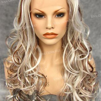 """26"""" Heat Safe Synthetic Lace Front in Curly Texture """"Calypso"""" in White with Dark Blonde Lowlights"""