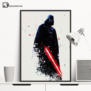 Star Wars Force Episode 1 2 3 4 5 Watercolor Darth Vader Minimalist Canvas Poster Painting  Movie Picture Print Room Decoration Modern Home Decor AT_72_6