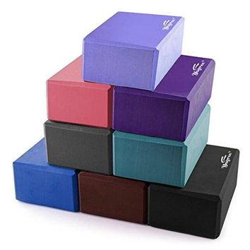 "Yoga Blocks 9""x6""x4"" High Density EVA Foam Brick Great for Yoga, Pilates Workout"