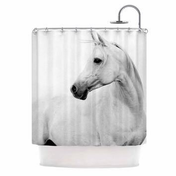 Pale Horse - White Black Animals Photography Shower Curtain