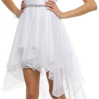 White Shimmy & Shake Beaded Empire Cocktail Dress - Unique Vintage - Homecoming Dresses, Pinup & Prom Dresses.