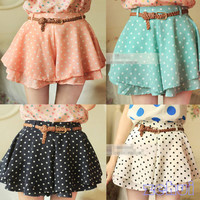 Polka Dot Skirt w/Belt (More Colors)