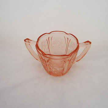 Vintage Pink Glass Sugar Bowl, Jeannette Glass Company Pink Sugar Bowl, Cherry Blossom Paterns Sugar Bowl