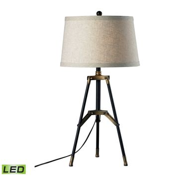 D309-LED Functional Tripod LED Table Lamp in Restoration Black and Aged Gold - Free Shipping!