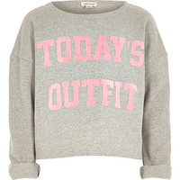 River Island Girls grey today's outfit print sweatshirt
