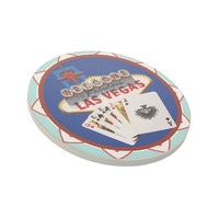 Blue Las Vegas Welcome Sign Poker Chip Sandstone Coaster