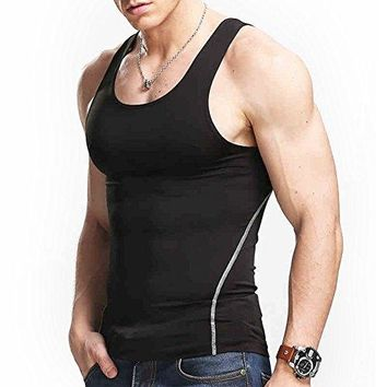 Image Men T-Shirt Cool Dry Compression Tank Top for Men, Muscle Baselayer Sleeves for Running Training Cycling, Color Black (XXL)