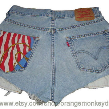 free ship Patriotic FLAG July 4th Custom jean denim LEVI 550 high waist  frayed cuff WAIST 32 Inches